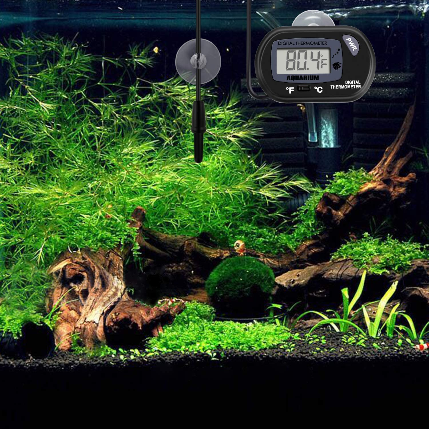 Neptonion Aquarium Thermometer LCD Digital Aquarium Thermometer with Suction Cup Fish Tank Water Terrarium Temperature for Fish and Reptiles Like Lizard and Turtle